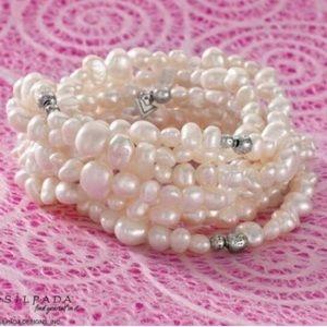 Silpada Silver Pearl Goddess Stretch Bracelet Set